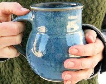 Handmade Ceramic Mug, Coffee Mug, Pottery Mug, Tea Mug, Smooth Blue Gift Idea for him, Artisan Pottery by Licia Lucas Pfadt