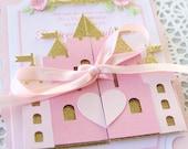 1ère invitation d'anniversaire princesse inviter - invitations princesses roses et or - princesse bébé shower invitations - rose princesse