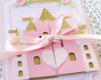 1st birthday princess invite - pink and gold princess invitations - princess baby shower invitations - pink princess invitation