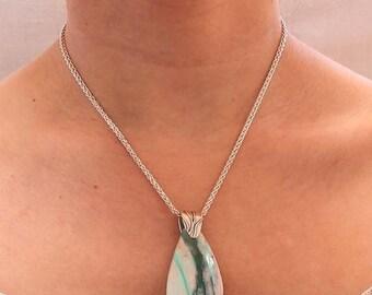 """Summer Sale : ) Peruvian Opal Pendant Large Teardrop Necklace 16"""""""