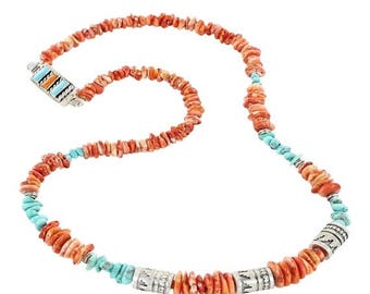 """Summer Sale : ) Spiny Oyster Turquoise Necklace Sterling Pueblo Beads 20"""""""