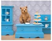 Tea loving grizzly bear diorama art print: Bear Necessities