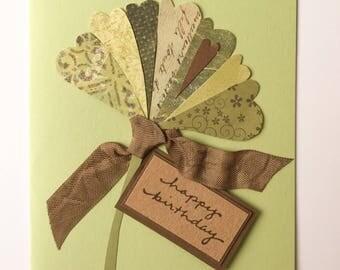 Birthday Card - ginkgo leaf, handmade card, original design - select your interior message