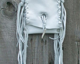 ON SALE White leather crossbody phone bag , Small white leather purse, Small white handbag, White fringed leather handbag , White leather wa