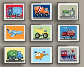 Transportation art prints,  boy nursery art, cart truck art, cars bedding art work, car truck wall art decor