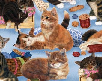 Sew Curious Cats Blue - Wilmington Prints - Fat Quarter