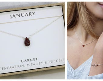 Tiny garnet necklace for her, January birthstone necklace for daughter gift for girlfriend, January birthday gift - Natalie