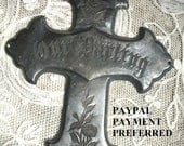 Vintage Antique Our Darling Casket Plate Cross ~  Funerary Coffin Victorian Mourning ~ Fancy Metal Goth Child Memorial
