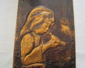 Vintage Hammered Copper Repousse Girl with Dove Wall Art Home Decor
