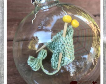 Knitting Christmas ornament, miniature, knit, glass ornament, baubles, knitting needles, christmas decor, knitting decor, christmas present
