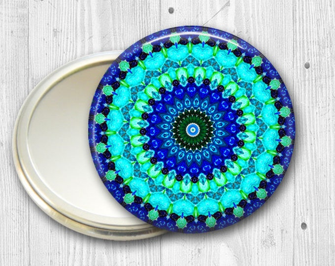 mandala pocket mirror, hand mirror, mirror for purse, fashion accessory, fasion accessory, bridesmaid gift, stocking stuffer  MIR-MAND-11