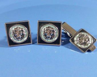 Vintage Cufflinks Lion Head Matte Black Pale Mint Silver Tone Swank Cufflinks Tie Clip Tie Bar Set Black Enamel Square Pale Mint Round Lion