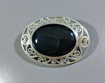 Vintage Sterling Silver Black Onyx Brooch Big Bold Black and Silver Fashionably Fabulous Big Versatile Outstanding Style