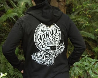 Supernatural Hoodie | Wayward Sons and Daughters | Sam and Dean Winchester hooded sweatshirt | Zippered Hoodie | Available In Plus Sizes
