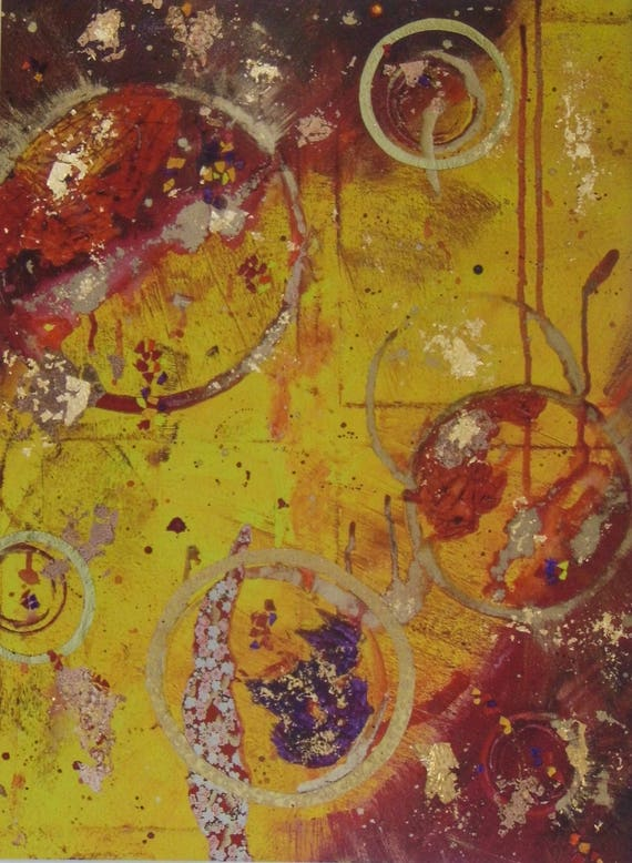 Yellow & Red Abstract Print
