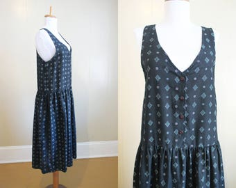 Loose Summer Dress Jumper Vintage Navy Blue 80s Medium