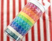 rainbow chevron arrows washi tape set - 12 rolls - 144 yards total
