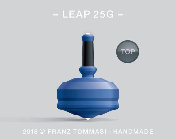 LEAP 25G Blue – Precision handmade spin top with dual ceramic tip and integrated rubber grip