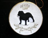RESERVED FOR Gabrielle 1 Bulldog and 1 Pug Silhouette Christmas Ornament