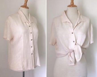 Vintage 1990s oyster silk jacquard short sleeve blouse / nineties loose-fit button-down ecru silk cloque shirt - medium