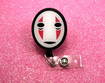 No Face Spirited Away Geek Nerd Anime Retractable ID Badge Reel Work Name Tag Nurse CNA RN Technician Convention Mens Womens Alligator Clip