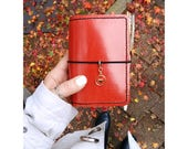 NEW Micro Raspberry Leather Cover with Inside Pockets, Handcrafted Travelers Notebook Leather Cover, Handstitched Micro Doodledori