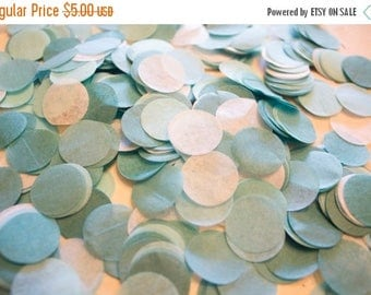 "ON SALE Aqua Ombre Tissue Confetti 3/4"" Circles"