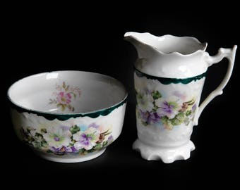 Purple Pansy Sugar Bowl & Creamer Set ~ Vintage Porcelain China ~ Country Farmhouse Cottage Kitchen Home Decor ~ Coffee / Tea / Dining
