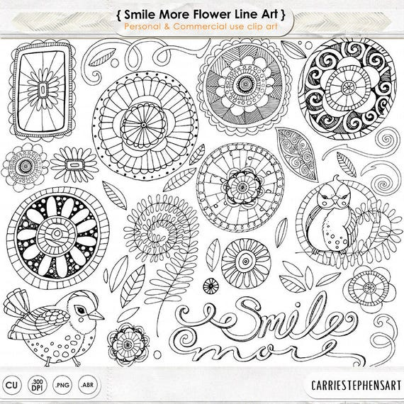 Line Art Resolution : Doodle flowers clipart boho digital flower line art