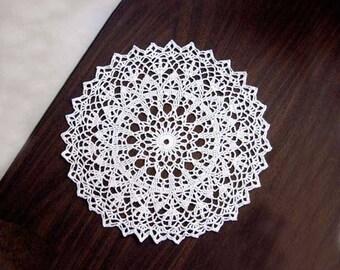White Lace Crochet Doily, 12 Inch Doily, Elegant Centerpiece, Intricate Design Home Decor, Dining Table Decoration, Wedding Decor, New