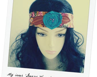 Floral Boho Headband, Boho Headband, Bohemian Headband, Headband Tie, Spice Boho Headband, Gypsy Headband