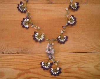 crochet flower necklace, purple white green oya