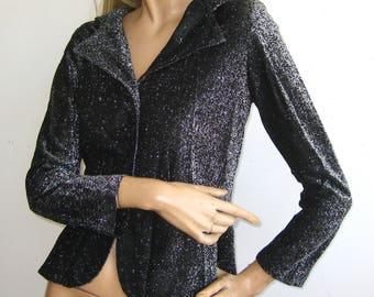 Vintage 60s 70s Black & Silver Metallic Lurex Hooded Jacket Top Blouse