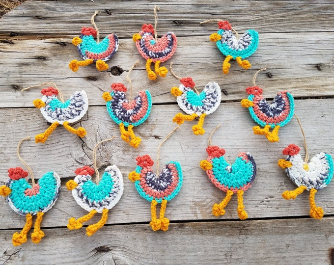 Chicken Ornament,Ready To Ship,Southwestern Chicken,Southwestern Christmas Ornament,Ornament Set,Christmas Ornament Set,Farmhouse Decor