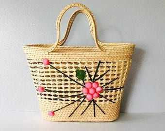 40% OFF SALE Vintage 1970's Straw Beach Bag / Summer Pink Floral Handbag Tote Purse Hippie Boho