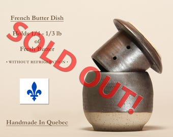 SOLD OUT! Contact me to reserve one in the next firing.  French Butter Dish, Beurrier Breton, Butter Keeper, Butter Dish With Lid