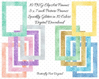 PNG Clip Art, Picture Frames, Photo Overlay, 5x7, Sparkle Glitter Clipart Frames, Instant Download