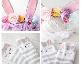 pastel rainbow Easter bunny headband   bunny ear bunny ears flower crown infant toddler socks