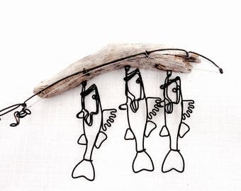 Walleye Stringer and Fishing Rod Wire Sculpture, Walleye Wire Art, Minimal Wire Sculpture, 552857244
