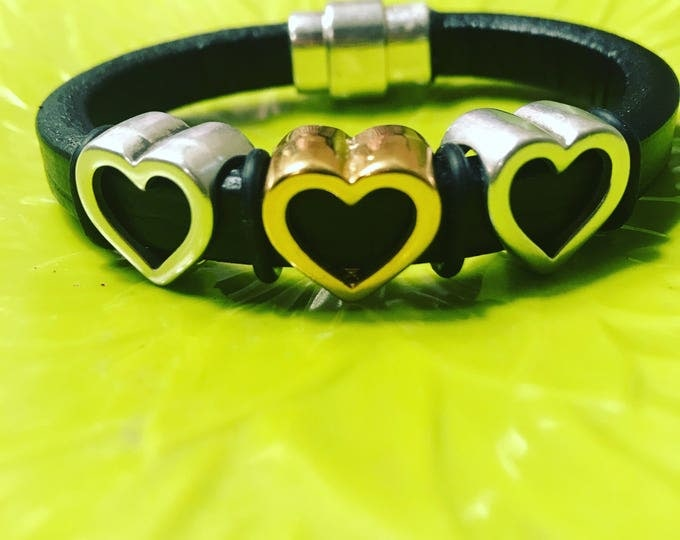 Metal Heart Leather Bracelet