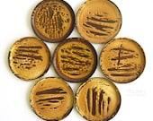 Set of 7 Hanova of Pasadena Yellow Brown Enamel Brutalist Small Metal Coasters Mid Century Modern