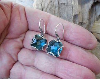 Gorgeous London Blue Topaz earrings handmade in sterling silver 925