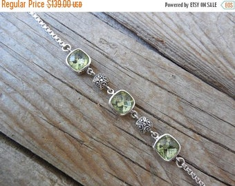 ON SALE Beautiful Green Amethyst bracelet handmade in sterling silver 925 with three cushion cut green amethyst stones