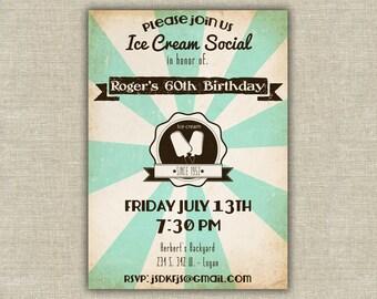 Ice Cream Party Invitation, Ice cream social invitation, adult birthday party, grandparents, family reunion, retro party invitation, 50's