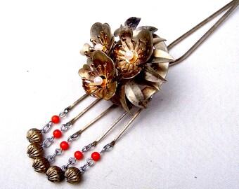 Vintage Japanese Kanzashi dangling hair pin Geisha flower faux pearl hair pick hair fork hair accessory hair ornament (AAK)