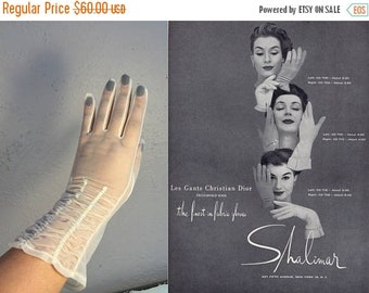 Anniversary Sale 35% Off Beige is Not So Boring - Vintage 1950s Sheer Ivory Nylon Mid Fore Arm Length Gloves - 7