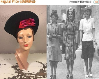 Anniversary Sale 35% Off Entertaining The Limitless - Vintage WW2 1940s Black Felt Nautilus Halo Tall Tower Hat w/Hot Pink Silk Rose