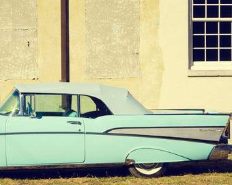 Classic Car Photography, 1957 Chevrolet Bel Air Convertible, Vintage Chevy  Automotive Decor, Large