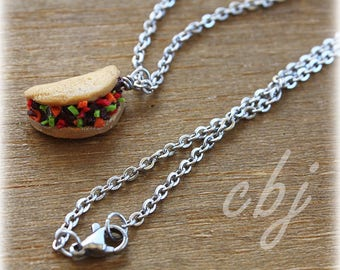 Taco Necklace, Polymer Clay Taco Necklace, Stainless Steel Necklace
