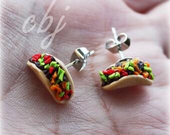 Taco Earrings, Taco Stud Earrings, Taco Post Earrings, Stainless Steel, Handmade